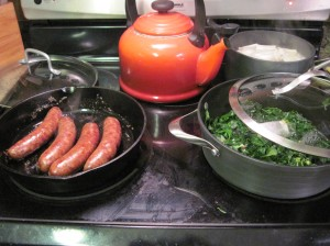 Sausage, greens, and pierogie