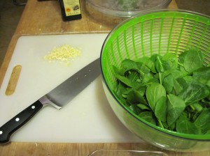 Garlic, Knife, and Spinach