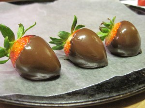 Freshly-Dipped Strawberries in Repose