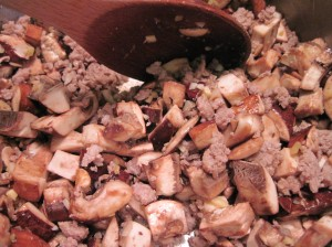 Saute Meat and Mushrooms