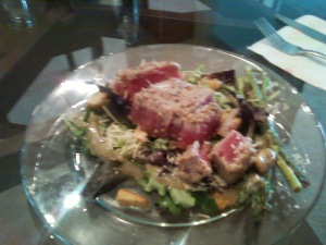 Surf-n-Turf Tuna on a Bed of Greens