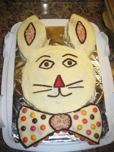 Bunny rabbit cut-up cake with fruit strip detail