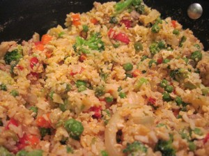 Blend Egg into Fried Rice