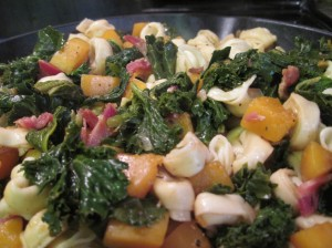 Pasta Tossed with Bacon, Butternut Squash, and Greens