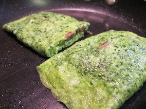Green eggs frying in the pan . . .