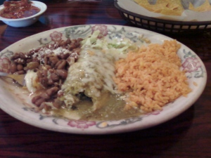 Spinach Tamale with Ranchero Beans and Rice