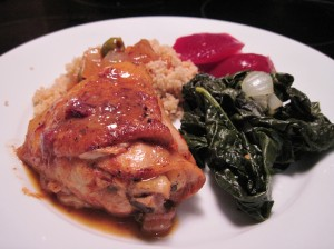 Braised Moroccan Chicken with Couscous, Tuscano Kale, and Beets