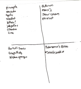 Four-Square Grocery List: 4/3/2011