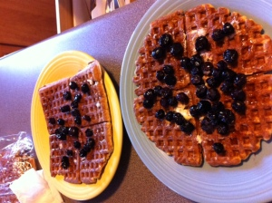 Blueberries atop Whole Wheat Waffles