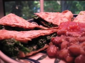Spinach Quesadilla and Ranchero Beans