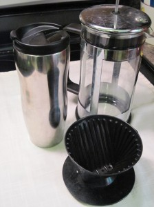 Coffee Tools: Travel Mug, Brew-Through, French Press