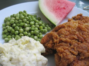 Summer Picnic Platter Featuring Cold Fried Chicken