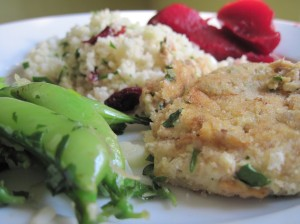 Salmon Cakes, Pea Pods, Couscous, and Beets