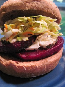 Goaty McBeet Burger with Slaw