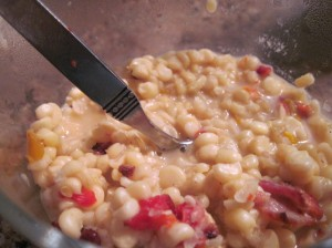 Mexican corn with peppers and bacon