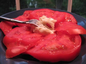 Sliced Tomatoes with Sea Salt and Mayo