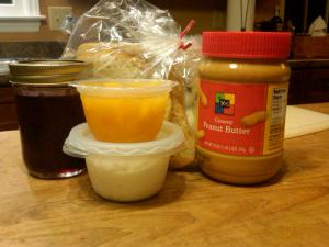 PB&J Fixings, Peaches, and Cottage Cheese