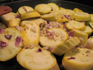 Squash and Onions Sauteing