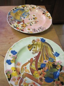Pony Plates from Anthropologie: Perfectly clean after using my method of scrape not rinse.