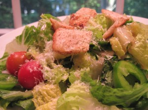 Simple Salad with Romano Caesar Dressing and Homemade Croutons