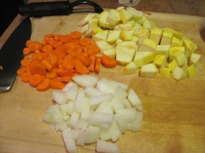 Diced Onion, Carrot, and Squash