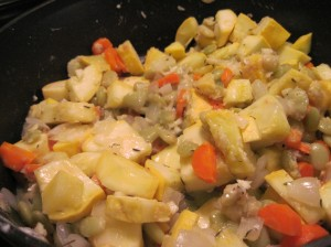 Saute the veggie mixture until crisp-tender.