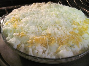 Spread the mashed potatoes evenly and top with cheese.