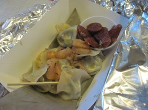 Veggie Dumplings from Chirba Chirba with Pineapple Chutney and Sweet Sausage
