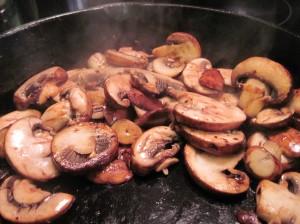 Mushrooms Searing in the Pan