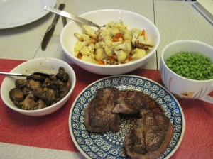 Marsala Mushrooms, Roasted Baconflower with Carrots, Peas with Sea Salt, and Beef Filet