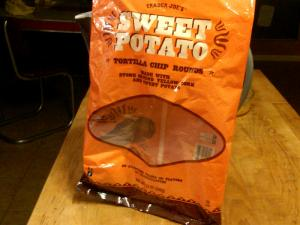 Sweet Potato Tortilla Chips from Trader Joe's (at least the bag)