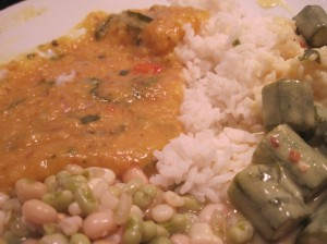 Sunday Dinner: Indian Edition (Dal, Black-Eyed Peas and Corn, Rice, Buttermilk Okra)