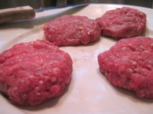 Burgers Awaiting the Pan
