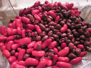 Beans in the rinse cycle.
