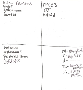 Four-Square Shopping List: 9/25/2011