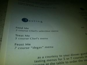 Love the tasting menu nomenclature