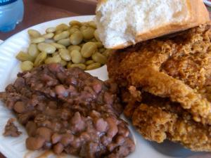 Fried Chicken, Field Peas, and Limas at Hunnicutt's