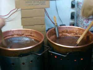 Big vats of fudge, the smell is completely free, and the samples aren't bad either.