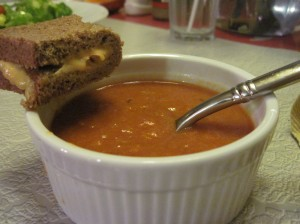Homemade Tomato Soup with Toasted Pimento Cheese