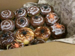 Spider Cupcakes with Webbed Frosting