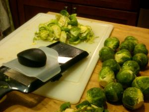 A mandoline makes slicing easy and even, but a knife works too.
