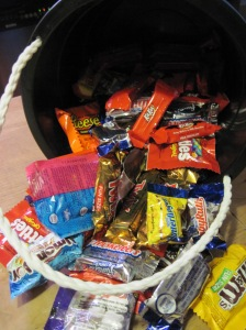 The combined bucket of candy. It is frightening.