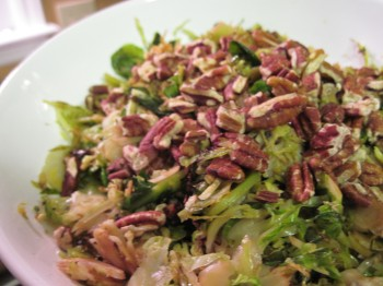 Brussels sprouts with pecans, a vegetarian delight.