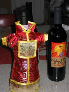 The wine is dressed for the festivities.