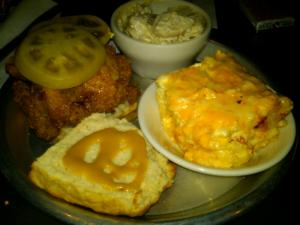 My Beasley's Chicken Biscuit with Pickled Green Tomato and Sides