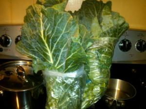 It is a joke to try to stuff collards into little grocery store bags. No one puts collards in the corner.