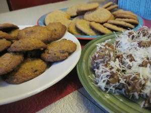 This year's cookie trinity: Oatmeal chocolate chip, peanut butter, and date snowflakes.
