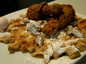 Fried chicken and waffles at Dame's. Wow.