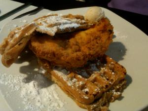 Sweet potato waffle and fried chicken breast from Dame's Chicken & Waffle.