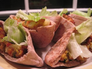 Vegetable Masala Burgers in Pita with Lettuce